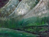 لوحة جبال في الظلام - صورة مصغرة
