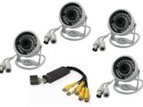 DVR Full System 4 channel security system USB2 With 4 CCTV 30 Led Came - صورة مصغرة